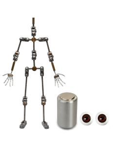 Animation Supplies Bundle Deal - Standard Armature Kit, Professional Tie-Down Magnet and Brown Acrylic Eyes