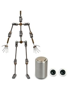 Animation Supplies Bundle Deal - Standard Armature Kit, Professional Tie-Down Magnet and Grey Acrylic Eyes